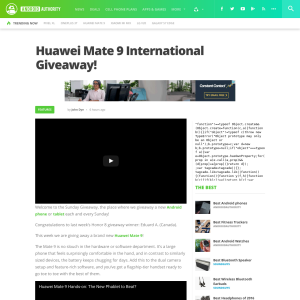 Android Authority - Win a Huawei Mate 9 smartphone