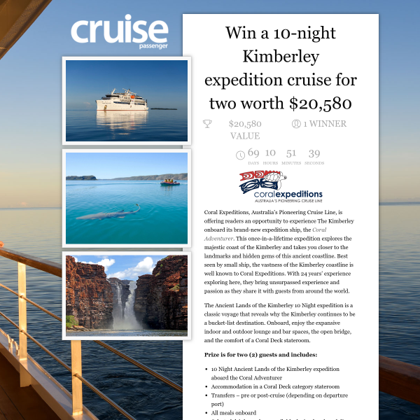 Win a Kimberley Expedition Cruise for 2