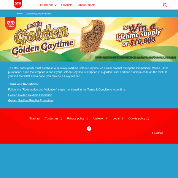 Win a lifetime of Golden Gaytimes or $10000 cash