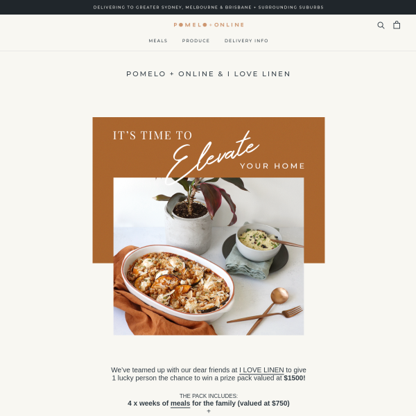 Win a Linen & Meal Prize Pack