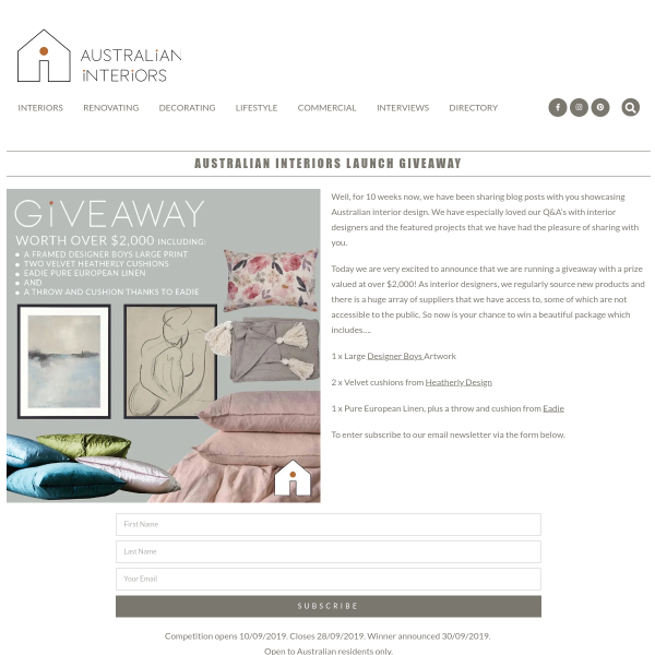 Win a Linen/Cushion/Artwork Prize Pack