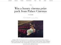 Win a luxury cinema prize pack from Palace Cinemas!