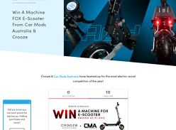 Win A Machine Fox E-Scooter From Car Mods Australia & Crooze