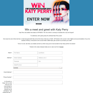 Win a meet and greet with Katy Perry
