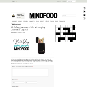 Mindfood - Win a Pressplay Cosmetics Capsule - Competitions