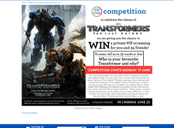 Win a private screening of Transformers The Last Knight for you and 34 friends
