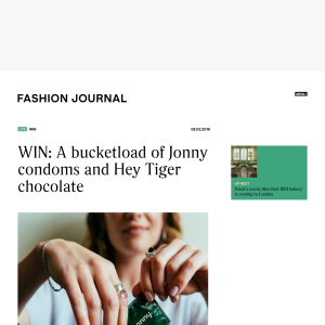 Win a Prize Pack Containing a Six-Month Subscription of Jonny Condoms + 18 Hey Tiger Chocolate Bars