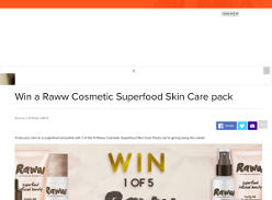 Win a Raww Cosmetic Superfood Skin Care pack