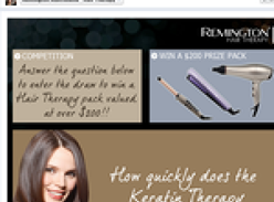 Win a Remington hair therapy pack, valud at over $200!