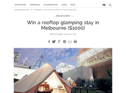 Win a rooftop glamping stay in Melbourne, valued at over $1,000!