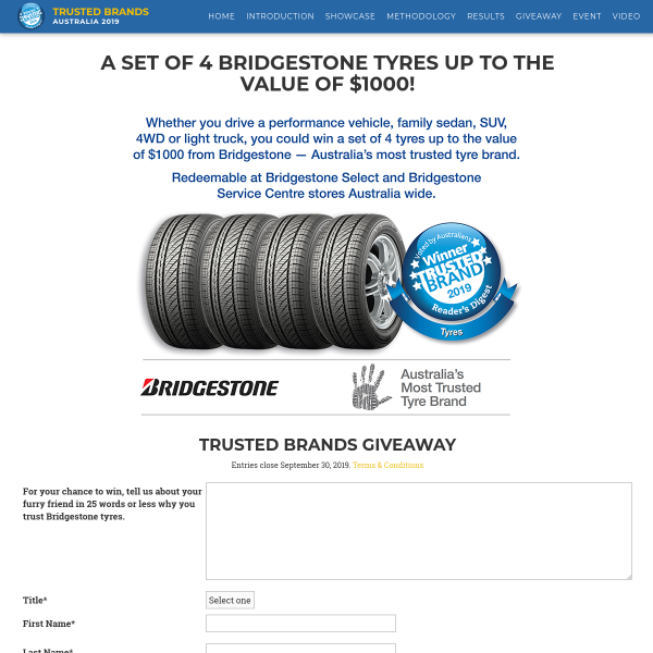 Win a Set of Bridgestone Tyres