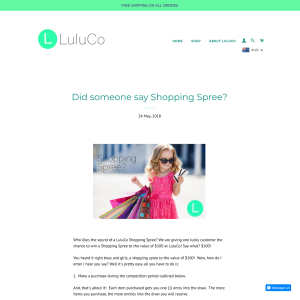 Win a Shopping Spree to the value of $100 at LuluCo