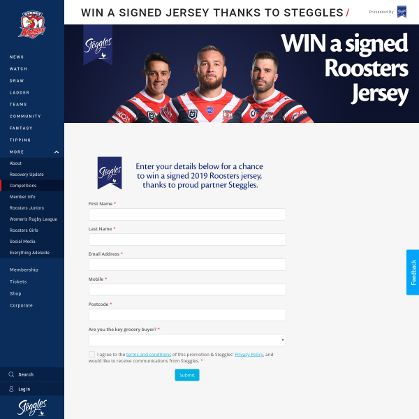 Win a Signed 2019 Sydney Roosters Jersey Worth $500