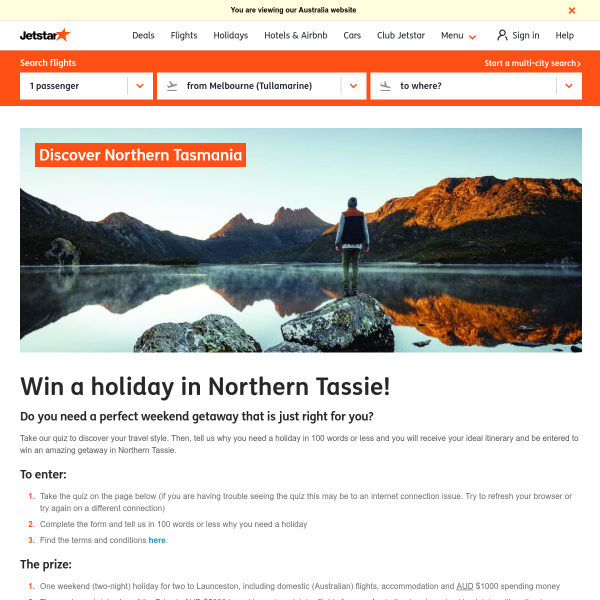 Win a Tassie Holiday for 2
