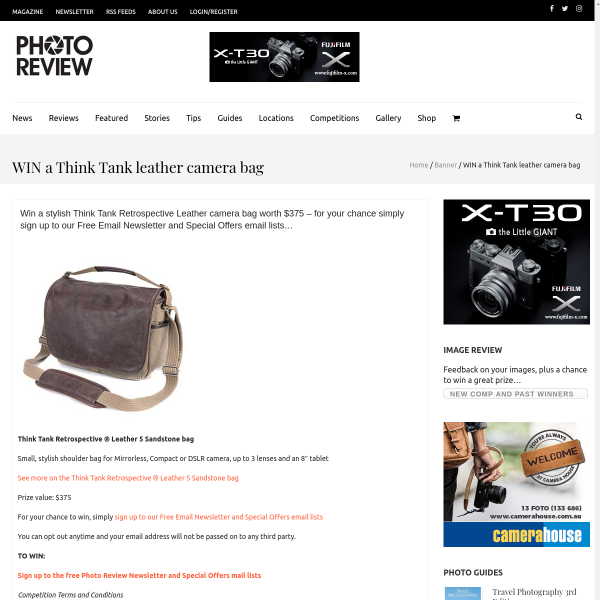 WIN a Think Tank leather camera bag