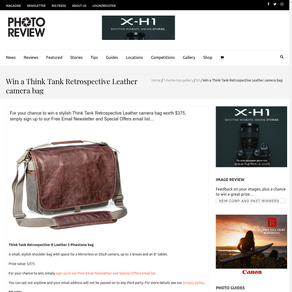 Win a Think Tank Retrospective Leather 5 Pinestone Shoulder Bag