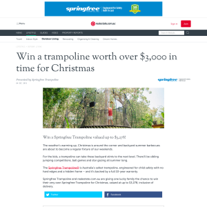 Win a trampoline worth over $3,000 in time for Christmas