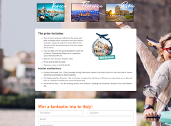 Win a Trip for 2 to Italy Valued At Up to $9988.50