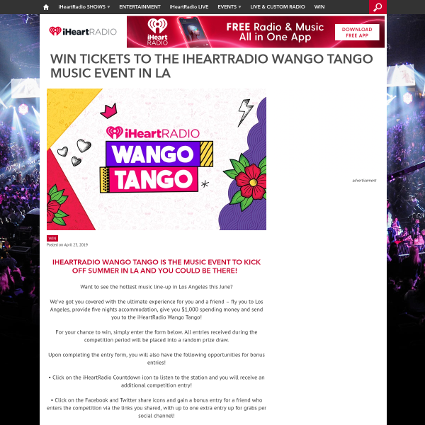 iHeartRadio - Win a trip for 2 to the 2019 Wango Tango Event