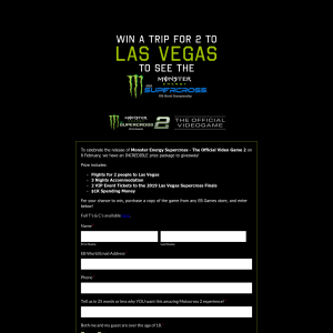 Win a Trip for 2 to The Las Vegas Supercross Finals + $1000 Spending Money