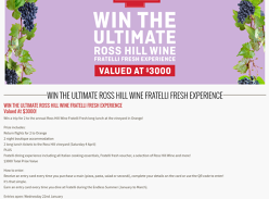 Win a trip for 2 to the Ross Hill wine experience!