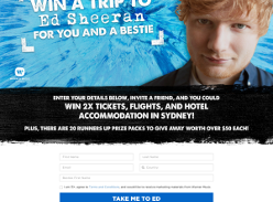 Win a Trip to Ed Sheeran Live in Sydney for 2 or 1 of 20 Prize Packs