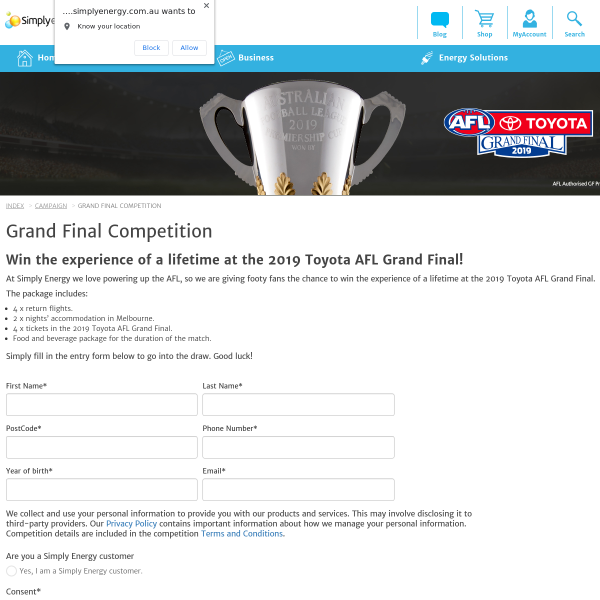 Win a Trip to the 2019 Toyota AFL Grand Final for 4