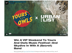 Win a VIP 'Yours And Owls' Music Festival Experience & Tandem Skydives for 2