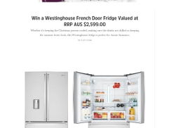 Win a Westinghouse 605L Stainless Steel French Door Fridge