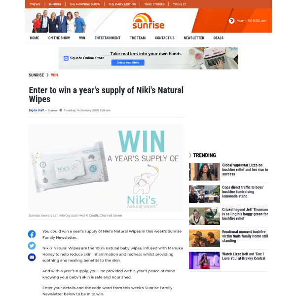 Win a years supply of Niki's Natural Wipe!