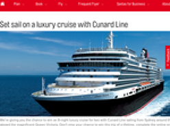 Win an 8-night luxury cruise for 2 with Cunard Line sailing!