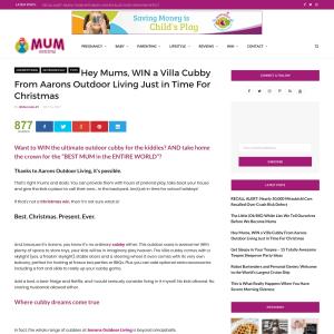 Win An Aarons Villa Cubby House