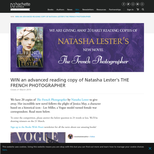 WIN an advanced reading copy of Natasha Lester's THE FRENCH PHOTOGRAPHER