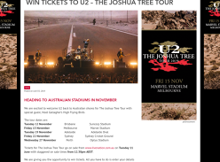Win double passes to see U2 - The Joshua Tree Tour!