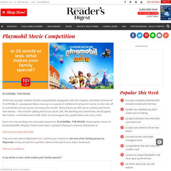Win Family Movie Tix to PlayMobil