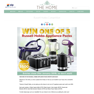 Win one of 5 Russell Hobbs Appliance Packs