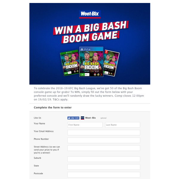 Sanitarium WeetBix - Win one of fifty Big Bash Boom Console