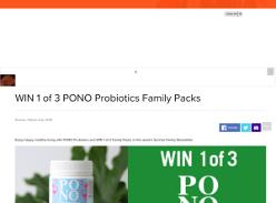 Win one of three family Pono probiotics packs
