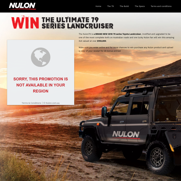 Nulon - Win the ultimate 79 series Toyota Landcruiser worth
