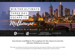 Win the ultimate weekend escape to Melbourne, valued at $4000!