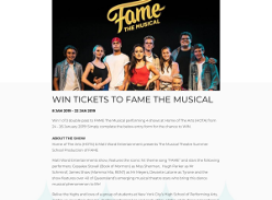 Win tickets to Fame the Musical