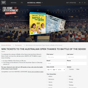 Win tickets to the Australian Open thanks to Battle of the Sexes