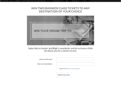 Win two business class tickets to any destination